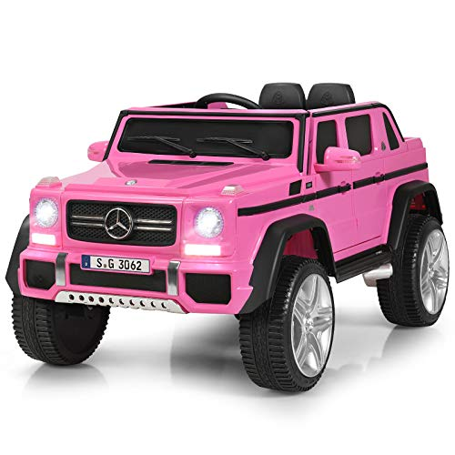Costzon Ride on Car, Licensed Mercedes-Benz Maybach G650S, 12V Battery Powered Toy w/ 2 Motors, 2.4G Remote Control, 3 Speeds, Lights, Horn, Music, Truck, Electric Vehicle for Kids (Pink)
