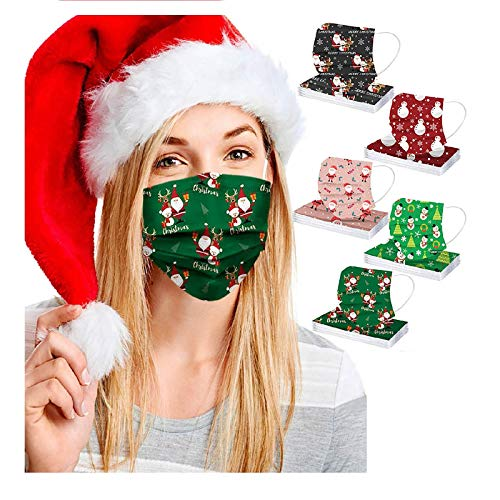 50pcs FDẴ Certified Disposable Face Mask Industriаl 3 Layer Filtеr for Coronàvịrụs Protectịon Christmas Printed Breathable Face Masks (Multicolor D)