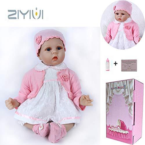 ZIYIUI 22 Pulgadas 55cm Muñecas Reborn Bebé Niña Silicona Suave Vinilo Vida Real Natural Hecho a Mano Juguetes para Bebés Recién Nacidos Regalos de Cumpleanos Chupete Magnético Reborn Doll