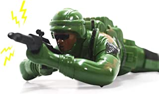 Crawling Soldier Toys,Crawling Army Corp Soldier Battery Operated Toy Action Figure W/Realistic Crawling Action, Lights, Sounds