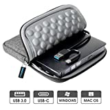 ROOFULL USB 3.0 & USB-C External CD DVD Drive, Premium Portable CD/DVD +/-RW Optical Drive Burner Writer with Protective Storage Carrying Case Bag for MacBook Pro/Air, Mac OS and Windows 10 Laptop PC