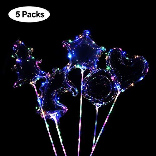 Sinicyder LED Leucht Luftballon, 5 Stück Bunte LED Ballons mit Stern/Herzform/Weihnachtsbaum/Einhorn/Rund, Perfekt für Party Dekorative, Geburtstag, Hochzeit, Weihnachten, Valentinstag (Farbe)