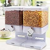 Ryori kitchen - dispensador de cereales cuadrado de plástico transparente y seco, mantiene los alimentos frescos y geniales para control de porciones doublé blanco