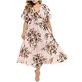 Women Summer Plus Size Dress Floral Graphic Long Dress Wrap V Neck Short Sleeve Gowns Empire Waist Casual Maxi Dress (Pink, XXL)