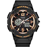 SMAEL Women's Sport Wrist Watch Quartz Dual Movement with Analog-Digital Display Watches for Women (Rose Gold)