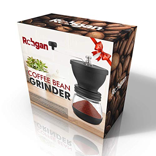 ROHGAN – Manual Coffee Grinder with Adjustable Setting, Hand Coffee Mill to grind complete espresso beans with 2 Glass Jars, Silicone Cover, Ceramic Burr Stainless Steel Handle, in your favourite espresso sort Espresso, French Press, Ristretto, Turkish Brew