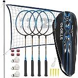 Fostoy Set da Badminton, Racchette da Badminton Leggere in Fibra di Carbonio, Incluse 4 Racchette da Badminton e 3 Volani, Borsa da Trasporto, 4 Overgrip, Set Completo da Badminton per Adulti