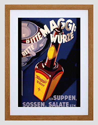 Wee Blue Coo Advert voedsel kruiden Maggi Duitsland fles stoom ingelijst muur Art Print
