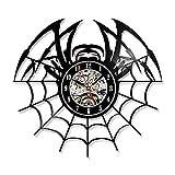 WERWN Spider Web Reloj de Pared CD Creativo decoración del hogar Vinilo LED decoración de la habitación