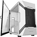 MUSETEX MESH Micro ATX Tower Case with 2 PCS × USB 3.0 Ports Magnetic Design Opening Tempered Glass Door Swing Type Side Panel & Mesh Front Panel (MK7-W)