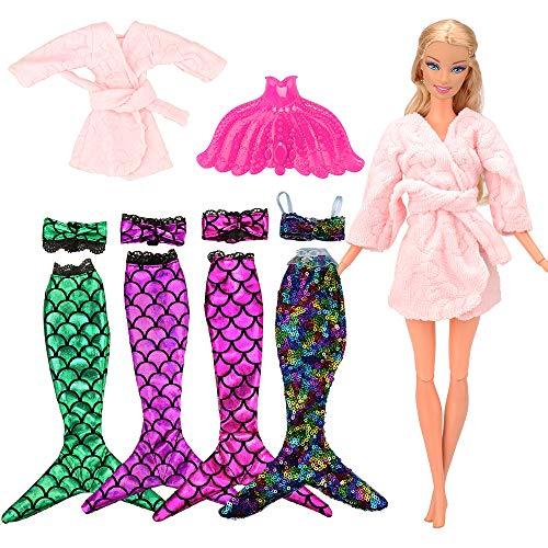 VILLAVIVI 4 Sets Bikini Meerjungfrau Kleidung Kleider Regenbogen Mermaid + 1 Mantel + 1 Fisch Schwanz für 11,5 Zoll Mädchen Puppen