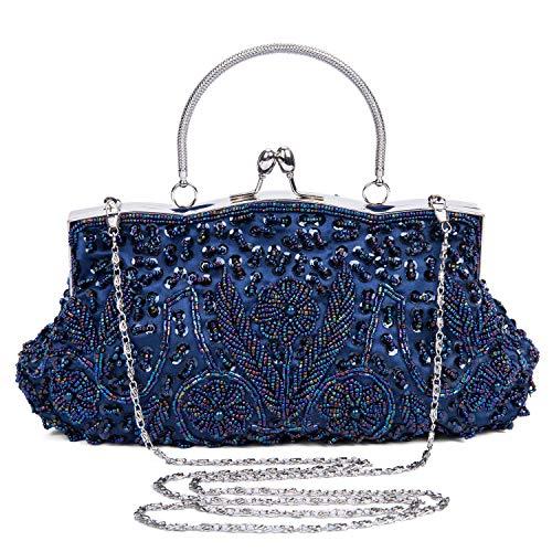 BAIGIO Cartera de Mano Fiesta, Clutch Mujer Bolso de Noche Perlas Bolso de Embrague para Ceremonia Boda Novia (Azul oscuro)