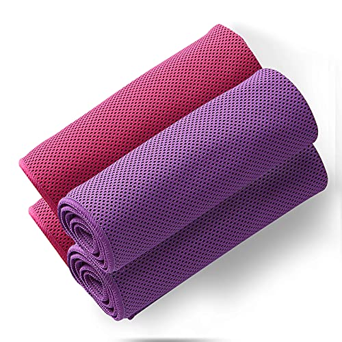 """4Packs Cooling Towel (40""""x 12""""), Ice Towel, Microfiber Towel, Soft Breathable Chilly Towel Stay Cool for Yoga, Sport, Gym, Workout, Camping, Fitness, Running, Workout & More Activities"""