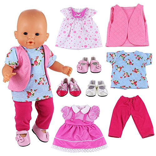 Miunana Vestiti Abiti per 36 - 42 CM / 14 - 16 Pollici Bambola Bambolotto Bebè (3 Abiti + 3 PCS Scarpe)