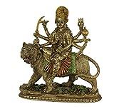 Durga Supreme Hindu Goddess Riding On Tiger Statue
