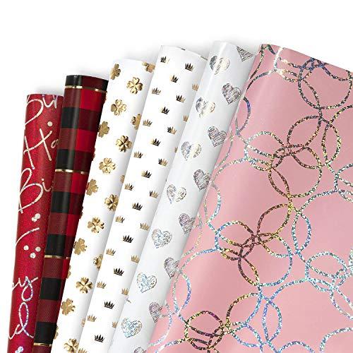 Geschenkpapier, Jolintek 6 Bögen Geschenkpapier Geburtstag Goldprägung Regenbogen Design Geschenkpapier Kinder Mädchen Junge Geschenk Papier für Geschenk, Weihnachten, Hochzeit, Valentines,Geburtstag
