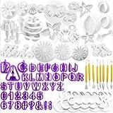 WJMY Cortadores Fondant Moldes para Fondant 84 Piezas Utensilios para Fondant Para Decorar Galletas Pasteles y Tartas incluye Letras Números Flores Herramientas de Modelado