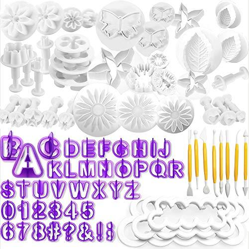 WJMY Fondant Ausstecher Backen Fondant Set DIY 84tlg Ausstechformen für Buchstaben, Zahlen, Rose Blume Formen Set Fondant Werkzeuge Auswerfer Stempel Modellierwerkzeug & Zubehör für Torten Deko