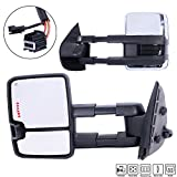 Roadstar Towing Mirrors Fit for 07-14 Chevy/GMC Silverado/Sierra Truck Pair Set Smoke Power Heated Telescoping with LED Arrow Signal Light Chrome Side Mirrors (Just 07 New Body Style)