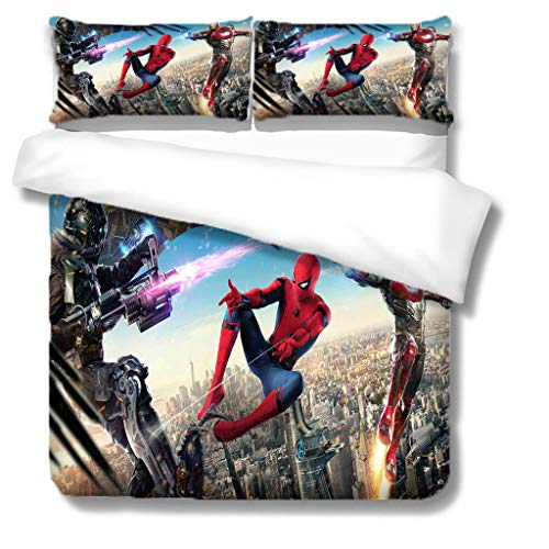 NO-BRAND Spider Man Print Comfortable Bed Linen 100% Microfibre (1 Duvet Cover + 2 Pillow Cases) with Zip (N03, Single 135 x 200 cm)
