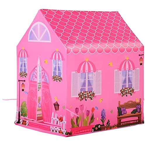 homcom Tenda da Gioco per 4 Bambini, Tenda Gioco di Castello per Principessa con 2 Porte, Rosa, 93x69x103cm