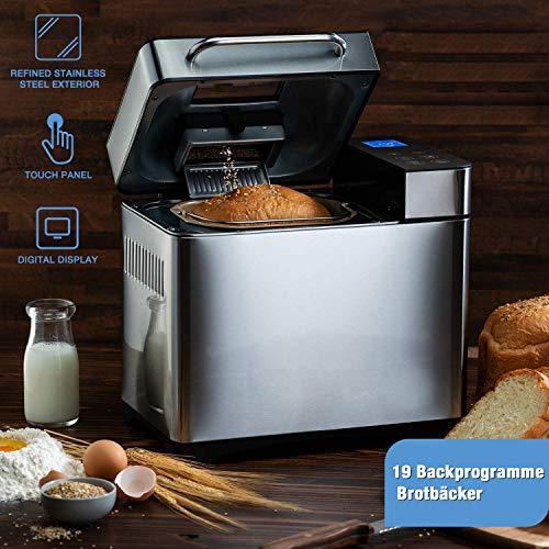 Bvivoa Brotbackautomat Brotbackmaschine Backmeister mit 19 Programme für 500g-1000g Brotgewicht, 710W, 15 Stunden Timing-Funktion, Warmhaltefunktion, Sichtfenster und LED Bildschirm, Silber (Silber)