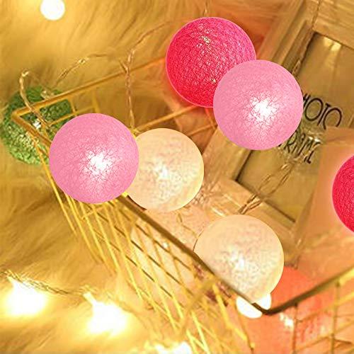 Lichterkette Cotton Ball,lichterkette weihnachtsbaum, 3m 20er LED Kugel Light,weihnachtsbaum lichterkette außen,für Innen, Mädchen Teenager Baby Zimmer Deko Terrasse Weihnachten Hochzeit Party, 6cm
