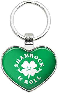 Shamrock and Roll Irish Rock Funny Humor Heart Love Metal Keychain Key Chain Ring