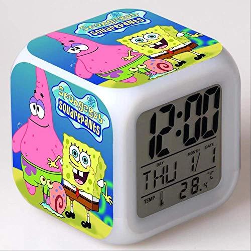 PMFS Spongebob Schwammkopf Kinder Wecker Farbwechsel Spielzeug Digital Led Reveil Wake Up Light Electronic6