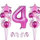 4er Cumpleaños Globos, Decoración de cumpleaños 4 en Rosas, Feliz cumpleaños Decoración Globos 4 Años, Globos Numeros para Fiestas,Globos de Aluminio para Niñas