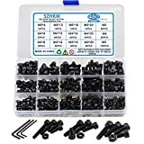 SZHKM 480Pcs Grade 12.9 Nuts and Bolts Assortment Kit M3 M4 M5 Socket Head Cap Screws Set Alloy Steel Machine Screws and Nuts Black with Wrench