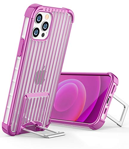 OCYCLONE [Suitcase Series] for iPhone 12 Pro Case/iPhone 12 Case, [Two-Way Stand] Anti-Slip Anti-Scratch Shockproof Protective Phone Case with Kickstand for iPhone 12/12 Pro 5G 6.1 inch - Purple