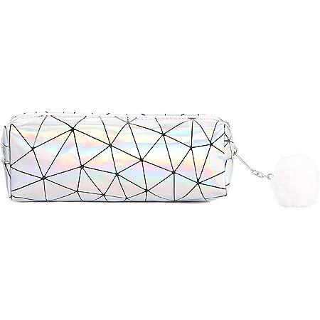argent Trousse de maquillage laser Supertool pour filles avec fermeture /éclair arc-en-ciel