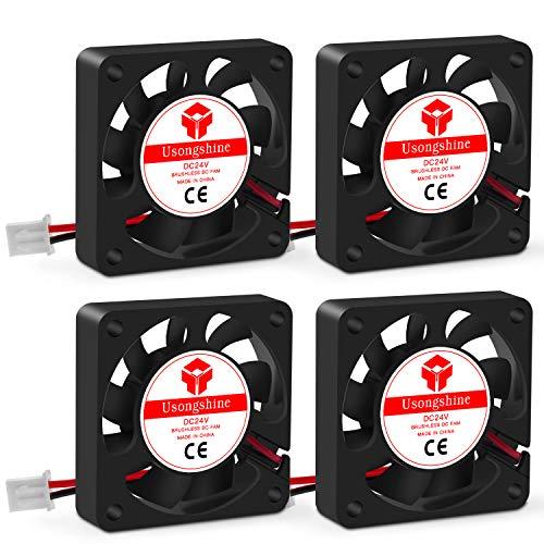 Usongshine Lüfter 3D Drucker Lüfter Lager Kühler Kühlung Ventilator 24V DC 2 Pin, 40 x 40 x 10 mm 3D Druckerzubehör (4 Stück mit Schrauben)