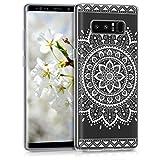kwmobile Samsung Galaxy Note 8 DUOS Hülle - Handyhülle für Samsung Galaxy Note 8 DUOS - Handy Case in Aztec Sonnenblume Design Weiß Transparent