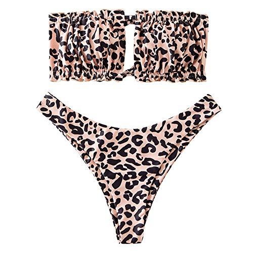 ZAFUL Women's Strapless Ribbed Tie Back Ruffle Cutout Bandeau Bikini Set Swimsuit (T-Leopard, M)