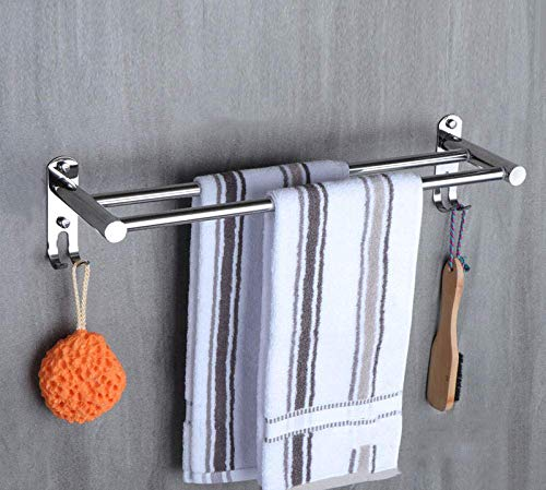 IUYJVR Towel Rack,Stainless Steel Towel Racks,Wall Mounted Towel Rail,Bathroom Double Shelf Storage Holder,for Bathroom Kitchen and Hotel-D-50CM