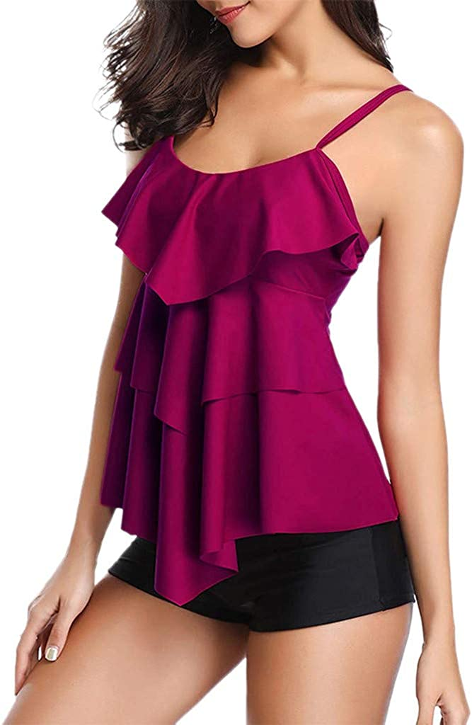 DFHYAR Two Piece Swimsuits Cover up for Red Ruffle wholesale Women Sales Tankini