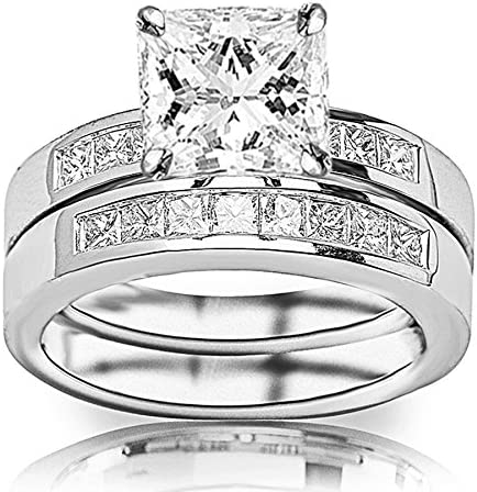 0.75 Carat Princess Cut Classic Sidestone Pave Set Diamond Engagement Ring I-J Color, VS1-VS2 Clarity