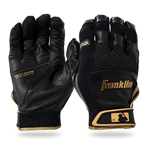 Franklin Sports Youth MLB Shok-Sorb X Batting Gloves, Youth Medium, Pair, Black/Gold