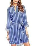 kenoce Blusa Vestidos para Mujer Cuello en V Plaid Camisa Suelta de Manga Larga Vestidos Casual Túnica Larga Tops F-Azul Claro L