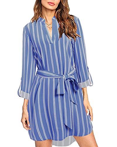 kenoce Vestidos de Camisa para Mujer Minivestido de Manga Larga/sin Mangas Blusas Tipo túnica Sueltas con Estampado Informal Camisetas largas a Rayas con cinturón