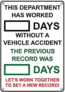 Weatherproof Plastic Vertical Dry-Erase Days Without A Vehicle Accident Sign with English Text