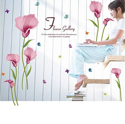 Hfwh Muursticker, citaat bloem afneembaar, voor slaapkamer, woonkamer, tuin, glas, tegels, wanddecoratie, zelfklevend, 60 x 90 cm