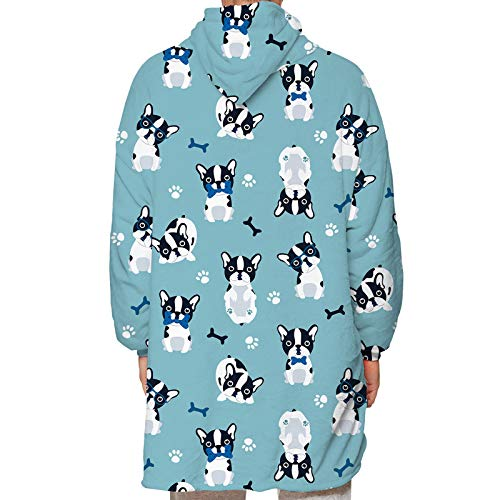 Parent-Child Hoodie Blanket Oversized Cozy Soft Wearable Long Sleeves Warm Sweatshirt Cute Cartoon Animal Printed Soft Top Kangaroo Giant Pocket Homewear (Blue Bulldog, Child-One size)