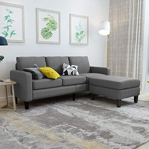 Mecor Convertible Sectional Sofa Couch w Reversible Chaise Fabric L Shaped Couch w Thick Cushion product image