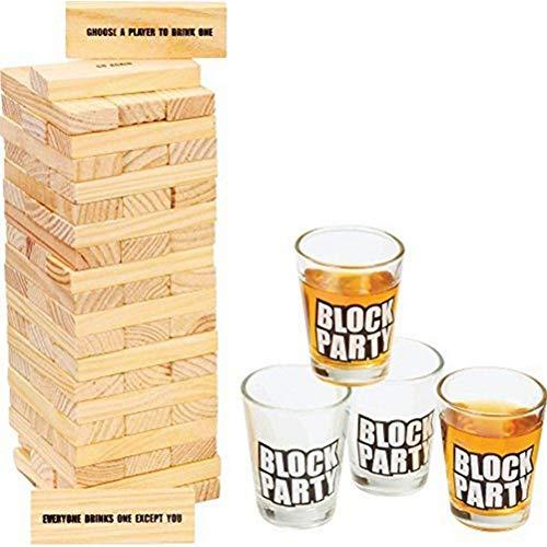 Venhoy Rocking Tower Drunken Tower Juego de Torre de Madera Juego de Habilidad Juego de Torre Juego de Fiesta para Adultos