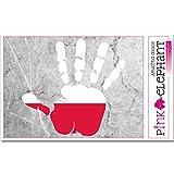 pinkelephant Aufkleber / Autoaufkleber - Polen - rechte Hand - Fahne - 10 cm x 9,5 cm - finger print palm slap handabdruck mano