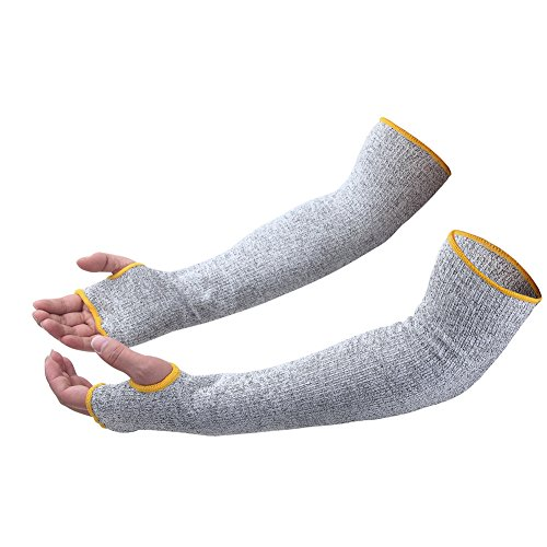 Cut Resistant Sleeves with Thumb Hole, Level 5 Protection, Slash Resistant Safety Protective Arm Sleeves,17 inch, Grey (1 Pair)