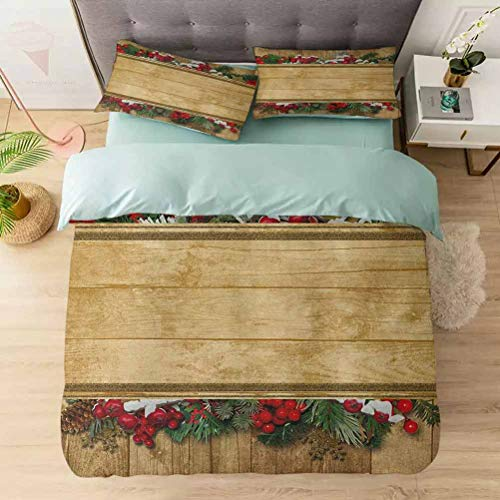 Aishare Store 100% Washed Microfiber 3pcs Bedding Set, Vintage Holiday Greeting Holly Fir Twigs Antiquity Heritage Noel Yuletid, Soft and Breathable with Zipper Closure & Corner Ties, Multicolor